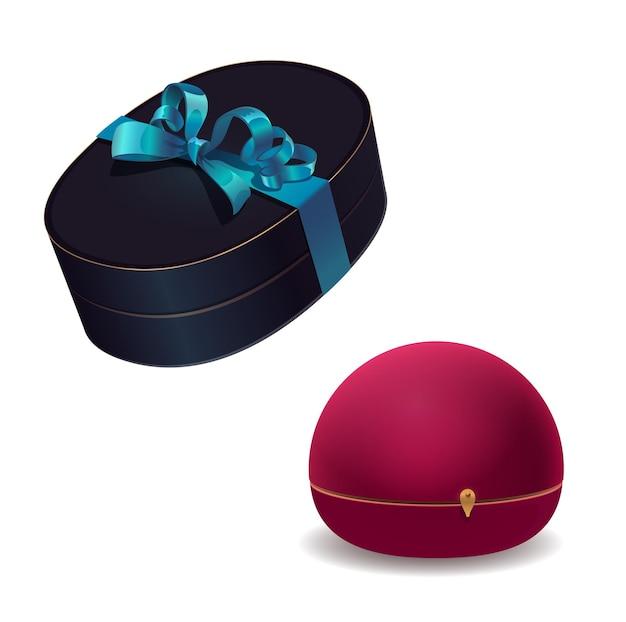 Coffrets bijoux, étui vectoriel de bijou ou de bijoux. paquets de dessin animé en velours rouge et cuir noir avec ruban et nœud pour mariage ou bague de fiançailles, collier de luxe, bracelet en diamant ou boucles d'oreilles