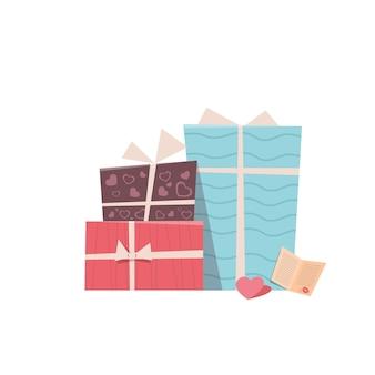Coffrets cadeaux colorés emballés présente le concept de célébration de la saint-valentin carte de voeux bannière invitation affiche illustration