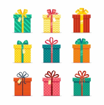 Coffrets cadeaux colorés avec ruban. ensemble
