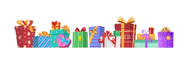 Coffrets cadeaux multicolores avec rubans et nœuds