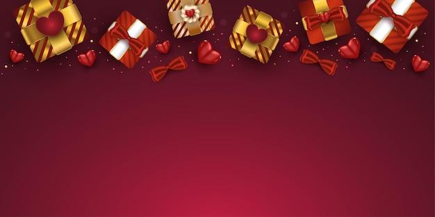 Coffrets cadeaux réalistes de la saint-valentin et coeurs rouges