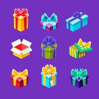 Coffrets cadeaux avec et sans cadeau à l'intérieur d'une collection de cartons emballés décoratifs