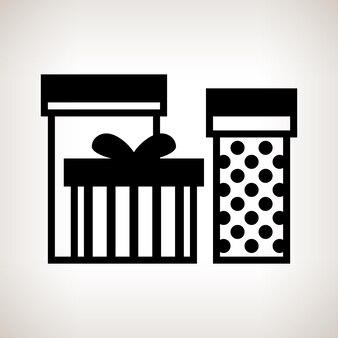 Coffrets cadeaux silhouette sur fond clair, illustration vectorielle noir et blanc