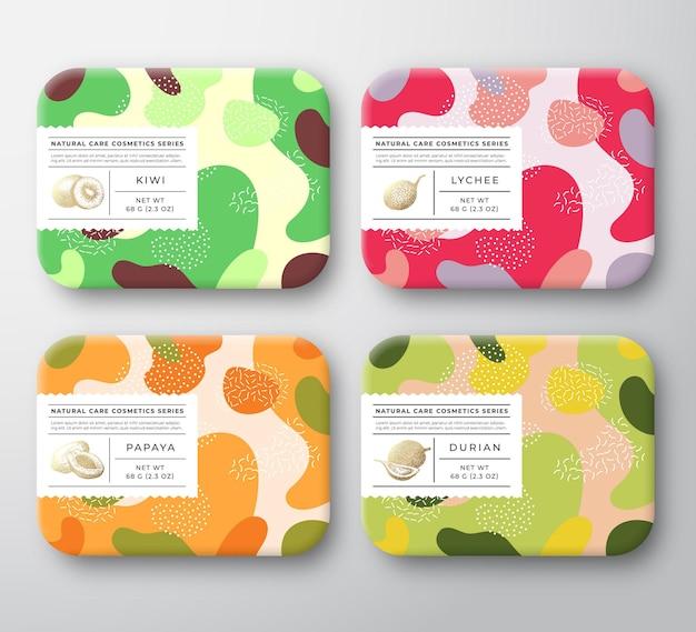 Coffrets cosmétiques pour le bain ensemble de conteneurs emballés vectoriels étiquette couverture collection emballage avec main d...