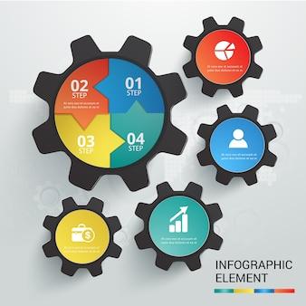 Cog symbole modèle infographie vecteur défini 4 options.