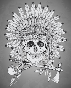 Coiffe indienne dessinée à la main avec crâne humain, tomahawk et calumet
