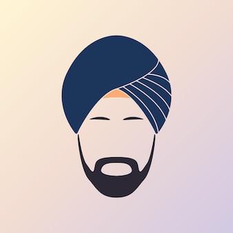 Coiffe turban bleu et moustache