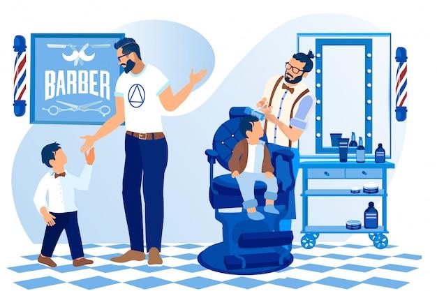 Coiffeur faire coiffure pour garçon assis dans un fauteuil