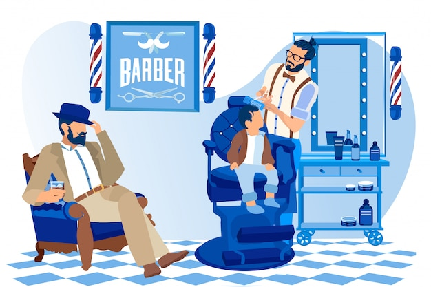 Coiffeur faisant la coiffure façonnée à petit garçon