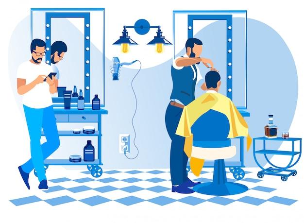 Coiffeur faisant la coupe de client dans le salon de coiffure