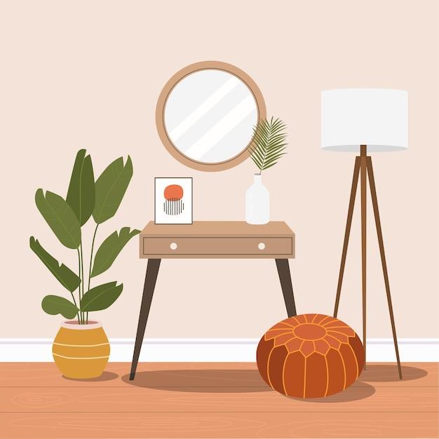 Coiffeuse avec miroir. intérieur de maison confortable. illustration de dessin animé plat