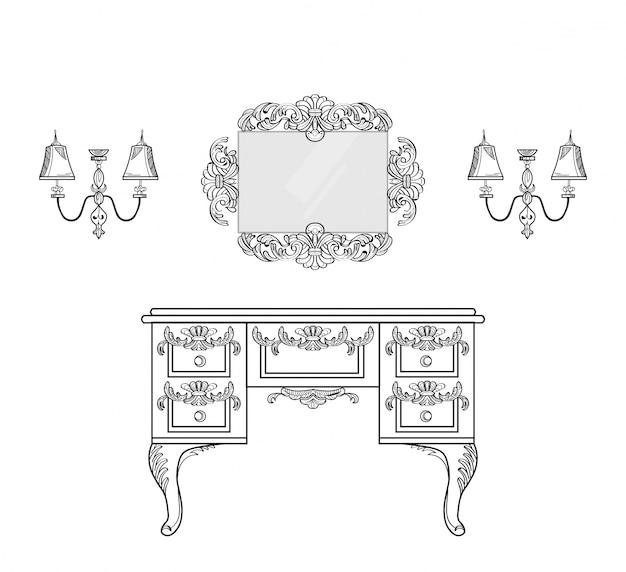 Coiffeuse avec des ornements luxueux. vector french luxury structure complexe riche. décor de style victorien royal