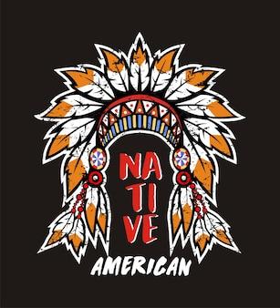 Coiffure d'amérindien pour t-shirt