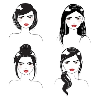 Coiffure différente de portrait de visage de femme en silhouette noir et blanc