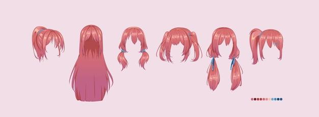 Coiffures manga anime. définir une perruque isolée un cheveu.