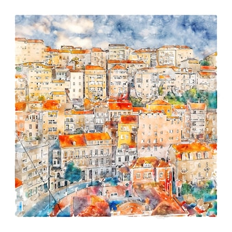 Coimbra portugal illustration aquarelle croquis dessinés à la main