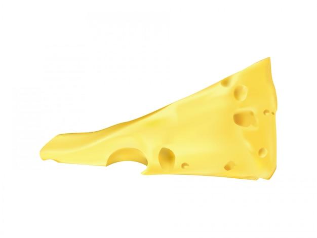 Coin de fromage d'emmental réaliste. suisse, produit laitier italien bio