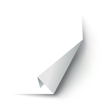 Coin de papier recourbé. coin de page courbe, courbe de bord de page et feuille de papier pliée avec une ombre réaliste.