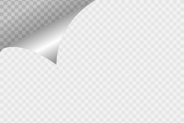 Coin de papier recourbé sur fond transparent avec des ombres douces, page de papier réaliste