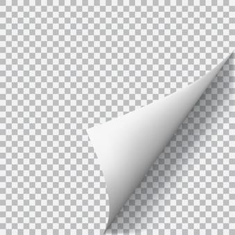 Coin de papier recourbé avec ombre