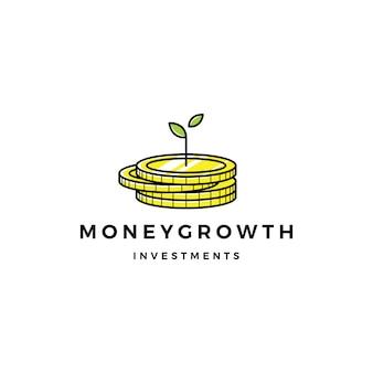 Coin de la pousse de germes d'argent croissance investissement logo