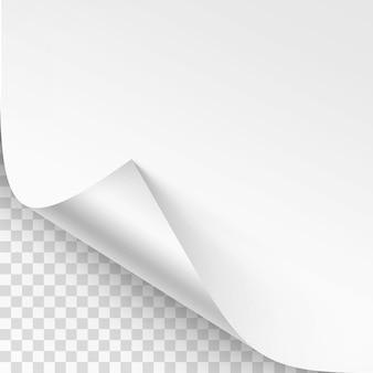 Coin recourbé de papier blanc avec ombre
