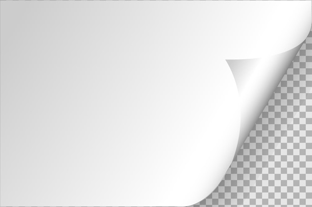 Coin recourbé de papier sur fond transparent avec des ombres douces, page de papier réaliste