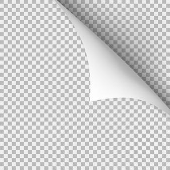 Coin recourbé de papier avec une ombre sur fond transparent.