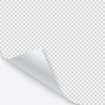 Coin recourbé de papier avec ombre