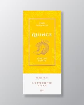 Coing maison parfum abstrait vecteur étiquette modèle croquis dessinés à la main fleurs feuilles fond et...