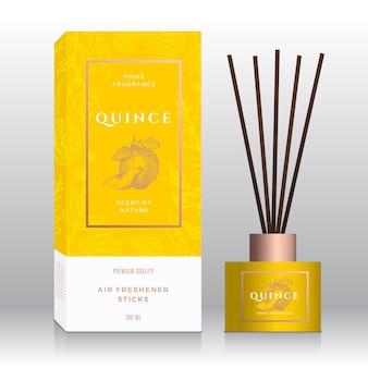 Coing maison parfum bâtons abstrait vecteur étiquette boîte modèle croquis dessinés à la main fleurs feuilles bac ...