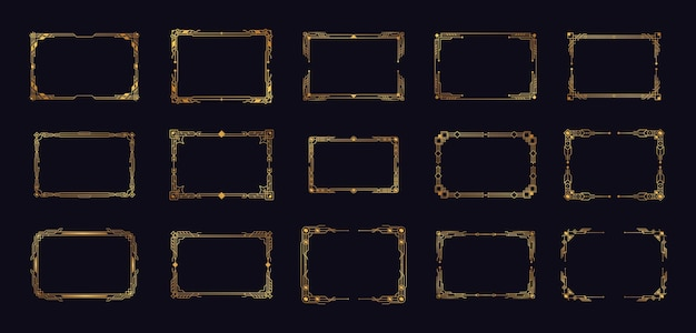 Coins art déco or set coins artdeco pour bordures et cadres