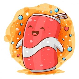 Cola can mignon personnage de mascotte de dessin animé kawaii