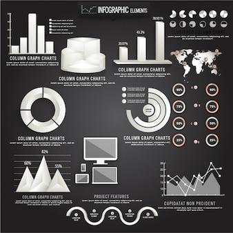 Colección de gráficos en tonos grises para infographies
