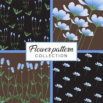 Colección de patrón de flores naturales