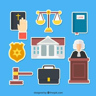 Colecciton de droit et de justice avec le style d'autocollant