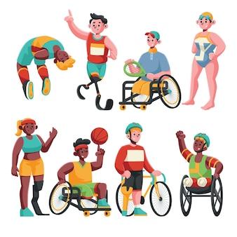 Colection de jeu de caractères de personnes diverses paralympiques
