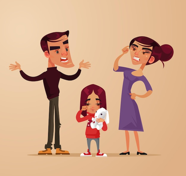 En colère parents tristes homme femme personnages se disputent près de fille enfant fille