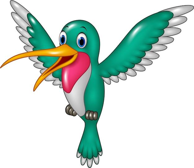 Colibri drôle de dessin animé battant isolé