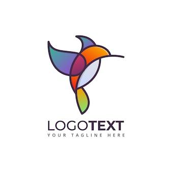 Colibri oiseau coloré logo d'entreprise
