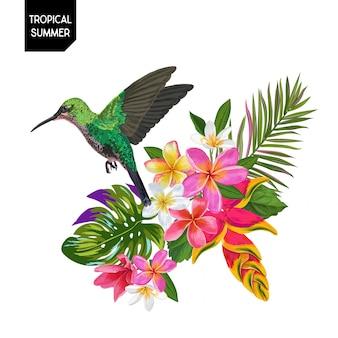 Colibri tropical et fleurs d'été
