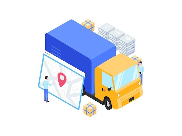 Colis envoyé suivi isométrique illustration. convient pour les applications mobiles, les sites web, les bannières, les diagrammes, les infographies et autres éléments graphiques.