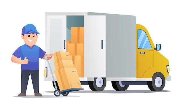 Colis de livraison de courrier mignon avec dessin animé de chariot et de camion