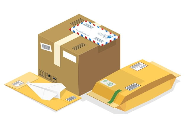 Colis postaux isométriques, courriers