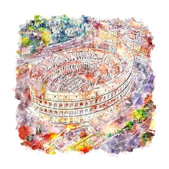 Colisée rome italie croquis aquarelle illustration dessinée à la main