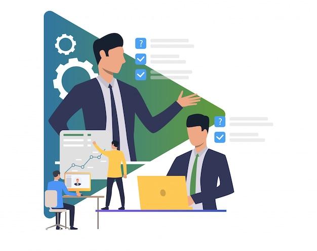 Collaborateurs qui planifient et se font objectifs