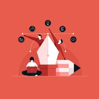 Collaboration de travail entre concepteur créatif et développeur