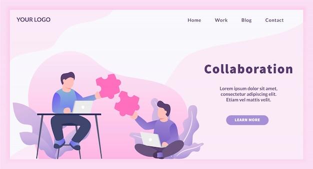 Collaboration de travail d'équipe entre travailleur indépendant avec concept de correspondance de puzzle