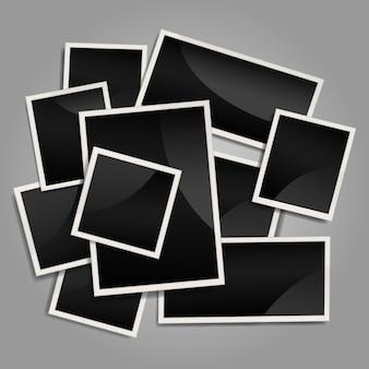Collage de cadre photo instantanée désordonné avec un design plat