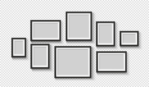 Collage de cadre photo réaliste noir sur le mur.